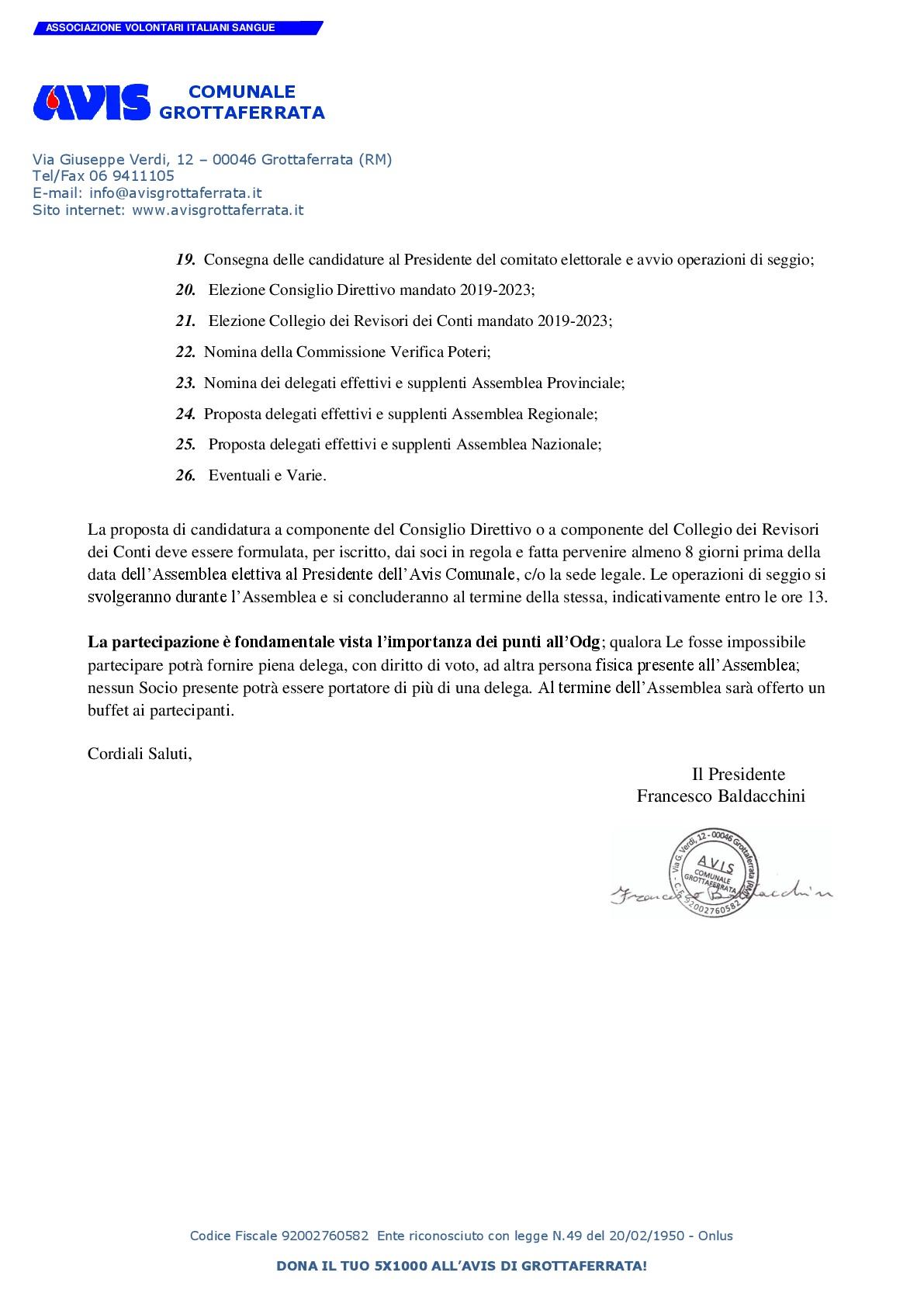 ASSEMBLEA ORDINARIA ELETTIVA 2019